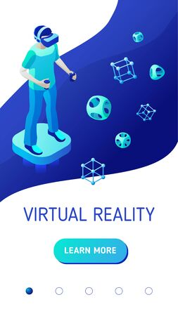 Gamer with controllers and vr helmet stands on flying virtual platform. Boy is gaming in virtual reality. Isometric vector illustration for mobile app landing page or advertising banner for website