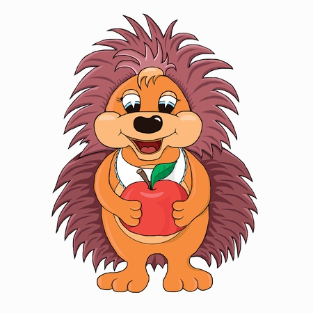 Hedgehog with apple  cartoon character  Vector
