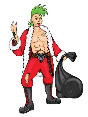 nose ring: Punk dressed as Santa Claus with a bag on a white background