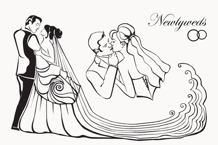 newlyweds  silhouettes of people  Vector