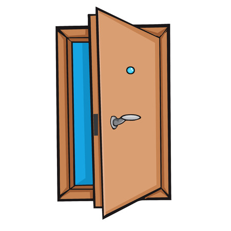 peephole: Open door  Cartoon style