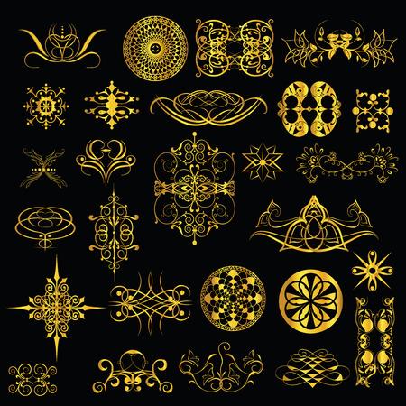 twiddle: gold ornaments on a black background  set1 Illustration