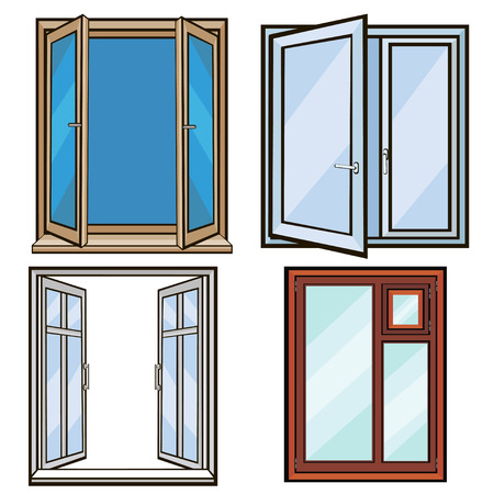 open windows: closed and open windows on a white background cartoon style