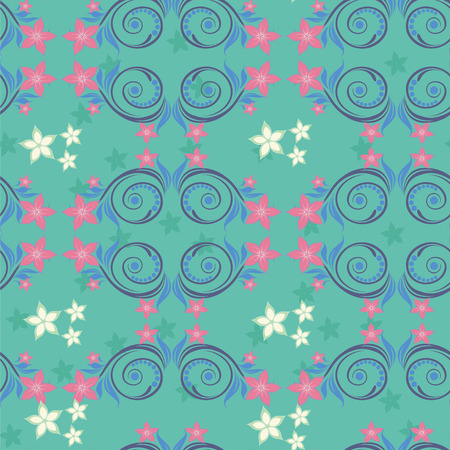 twiddle: Turquoise seamless pattern with pink flowers  White flowers and purple swirls  Illustration