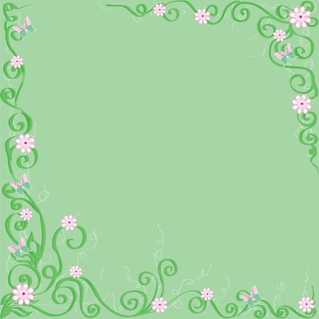twiddle: green background with flowers and butterflies  Illustration