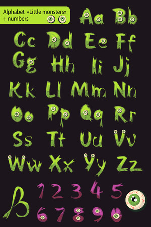 roman alphabet: Roman alphabet with numbers. little multi-colored monsters.