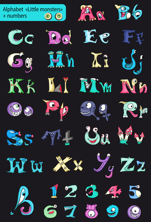 Roman alphabet with numbers. little green monsters. Vector