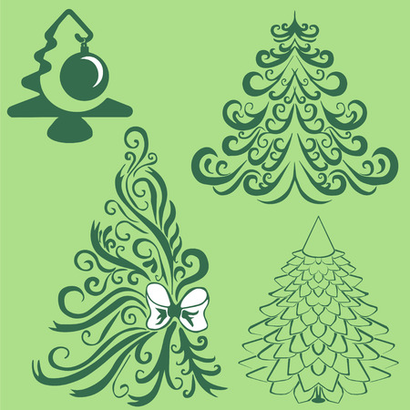 volute: silhouettes of fir trees. Christmas Trees.