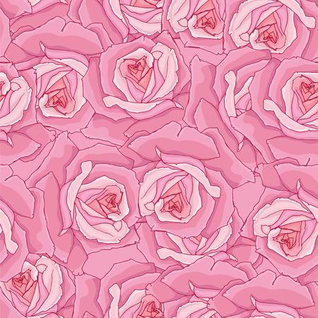 floret: Seamless background. Pink roses. Illustration