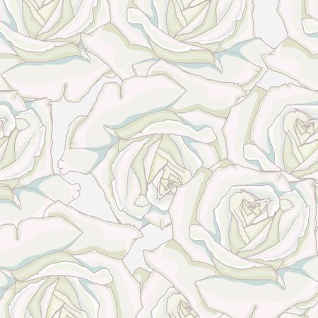 floret: Seamless background. White roses.