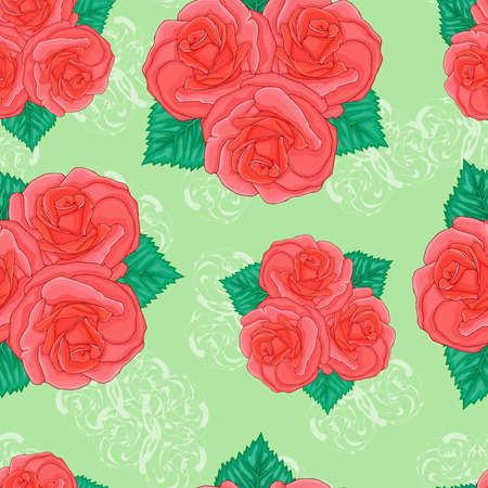 floret: Seamless background. Pink roses on a green background.