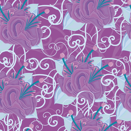stamen: seamless background with violet purple flowers