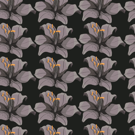 stamen: seamless background with gray background lilies.floral