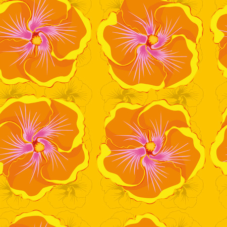 floret: seamless yellow background with orange hibiscus flowers. Illustration