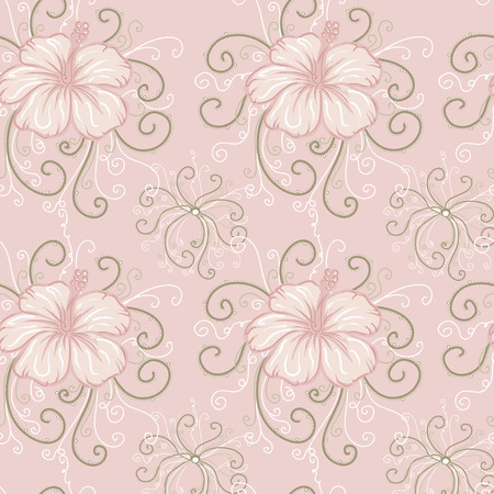 twiddle: seamless background with pink hibiscus. Illustration
