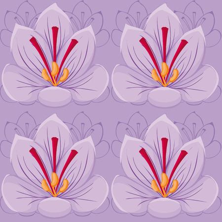 紫の花のシームレスな background.saffron。シームレス パターン。  イラスト・ベクター素材