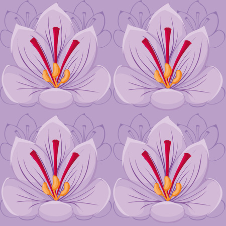 Violet flowers seamless background.saffron. seamless pattern.