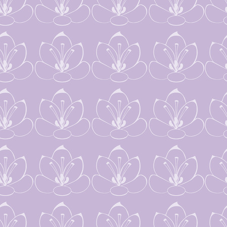 saffron: seamless Violet background with white flowers. saffron flowers. seamless pattern. Illustration