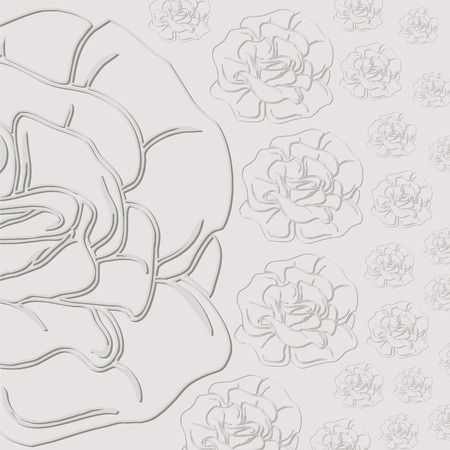 floret: gray background with roses. cut from paper.