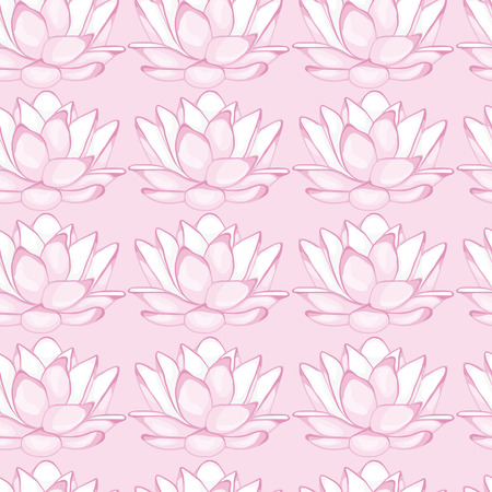 floret: Seamless pink background with white lotus. seamless pattern.