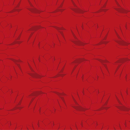 floret: Seamless background with dark red lotus. seamless pattern. Illustration
