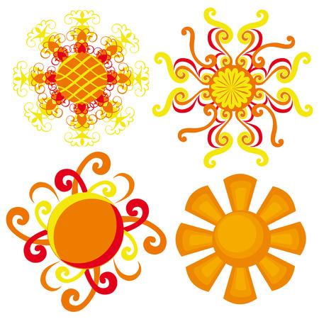 suns: suns. decorative sun on a white background.