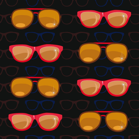 spectacle frame: seamless pattern. sunglasses on black background.