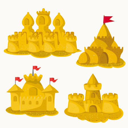 sandcastles: sandcastles. white background. Illustration