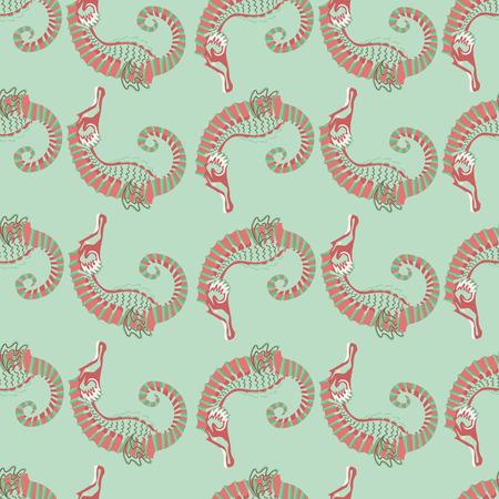sea horse: seamless pattern. sea horse. green background Illustration