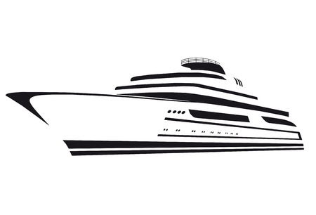 silhouette of the yacht. Ship. Boat. Illustration