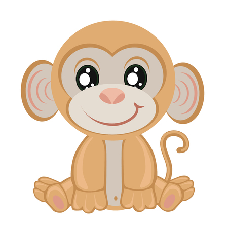 Little monkey on a white background.Children Clip Art Illustration