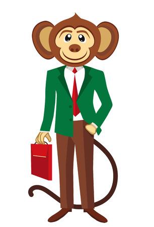 monkey suit: Business monkey in a green blazer. White background.