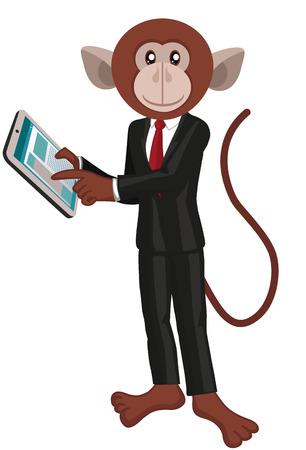 monkey suit: Business monkey with a tablet.White background.