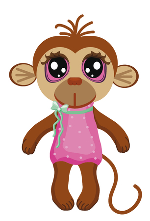 big eyes: Little monkey with big eyes on a white background.Children Clip Art
