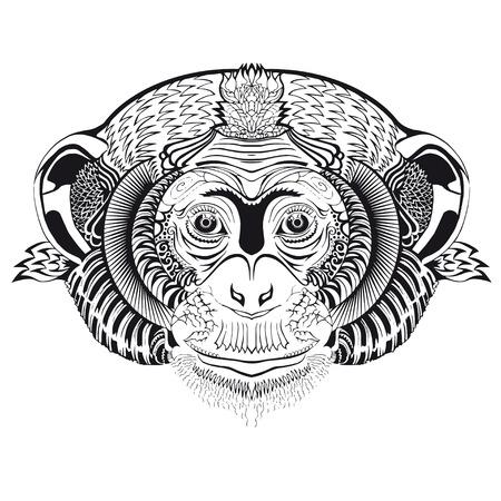 Capo di scimmia. Sketch di tatuaggio. Vettoriali
