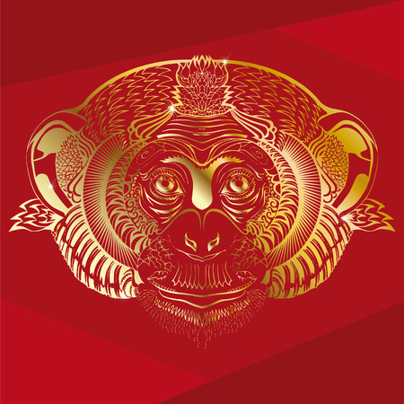 eye red: Head of monkey.Golden silhouette on a red background.