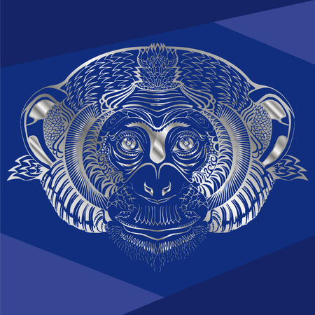 blue background: Head of monkey.Silver silhouette on a blue background.