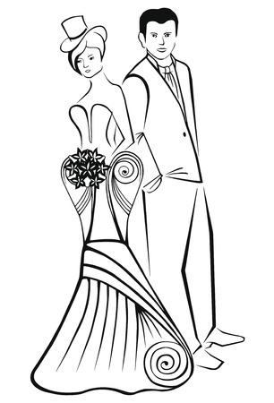 Newlyweds. Vrouw in modieuze kleding in de top-hat. Vector Illustratie