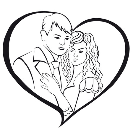 amorous: Newlyweds. Lovers in a heart. Illustration