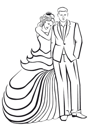 Newlyweds. Woman in a ball gown dress with you. Illustration