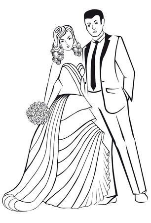 newlyweds: Newlyweds. Woman in a ball gown dress with you. Illustration