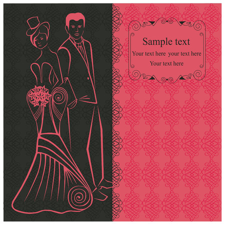 amorous: Newlyweds. Woman in stylish dress in the top-hat. Pink invitation.