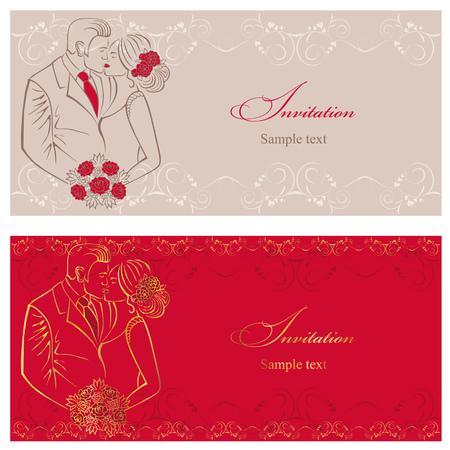 newlyweds: Newlyweds. Couple with wedding bouquet. Wedding invitation.