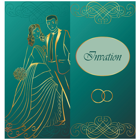 wedding: Newlyweds. Wedding invitation.