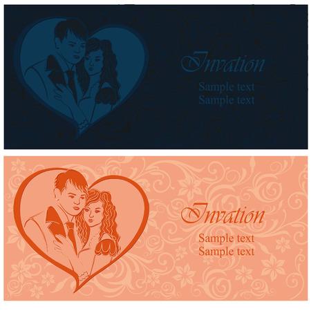newlyweds: Newlyweds. Lovers in a heart. Wedding invitation.