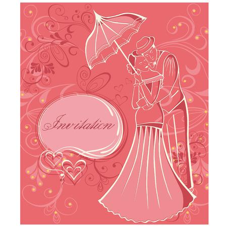newlyweds: Newlyweds. Couple with umbrella. Wedding invitation. Illustration