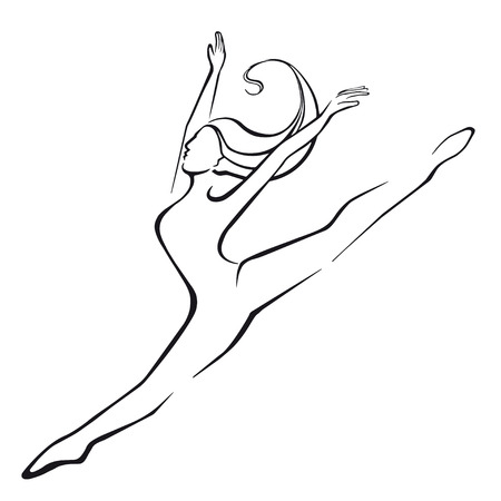 Silhouette of a dancing girl. Jump. Black silhouette on a white background.