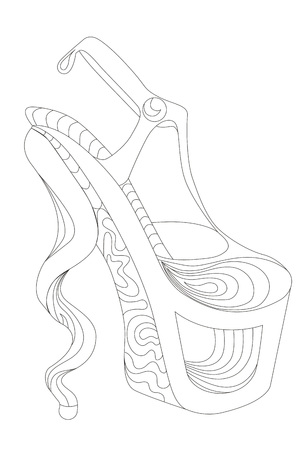 Shoe. Coloring books for adults.