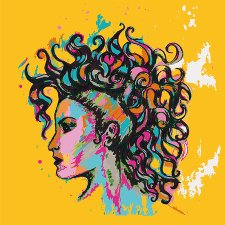 Colourful posters. Hairstyle. Girl with curls.