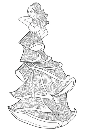 habiliment: Coloring book page for adults. Woman in a long dress. Fashion.